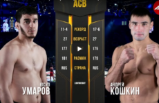 Видео боя Юсуп Умаров — Андрей Кошкин ACB 89