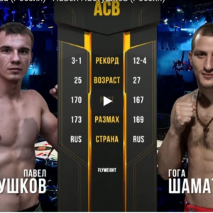 Видео боя Гога Шаматава - Валерий Хажироков ACB 89