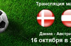 Прямая трансляция Дания — Австрия. Футбол. Товарищеский Матч. 16.10.18.