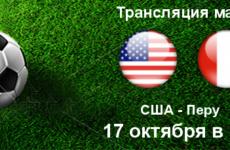 Прямая трансляция США — Перу. Футбол. Товарищеские матчи. 16.10.18