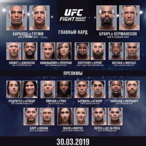 Результаты турнира UFC on ESPN 2: Эдсон Барбоза - Джастин Гэтжи