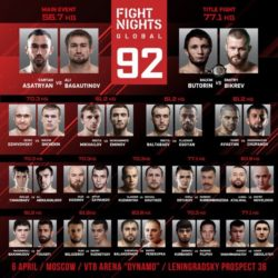 Результаты турнира Fight Nights Global 92: Али Багаутинов - Вартан Асатрян