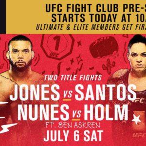 Прямая трансляция UFC 239: Джон Джонс — Тиаго Сантос, Аманда Нуньес — Холли Холм