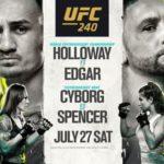 Файткард турнира UFC 240: Макс Холлоуэй – Фрэнки Эдгар, Крис Сайборг – Филиция Спенсер