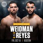 Прямой эфир UFC on ESPN 6: Крис Вайдман — Доминик Рейес. Смотреть онлайн